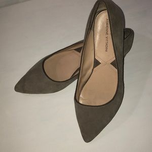Gray suede flats